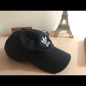 Black adidas originals relaxed strap-back hat